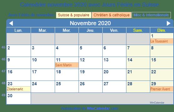 Calendrier Novembre 2020.Calendrier Pour L Impression Novembre 2020
