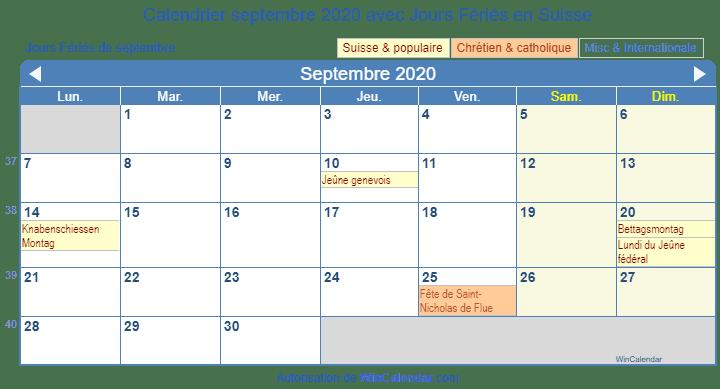 Calendrier Septembre 2020.Calendrier Pour L Impression Septembre 2020