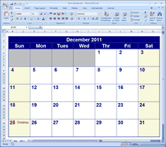 calendars for excel