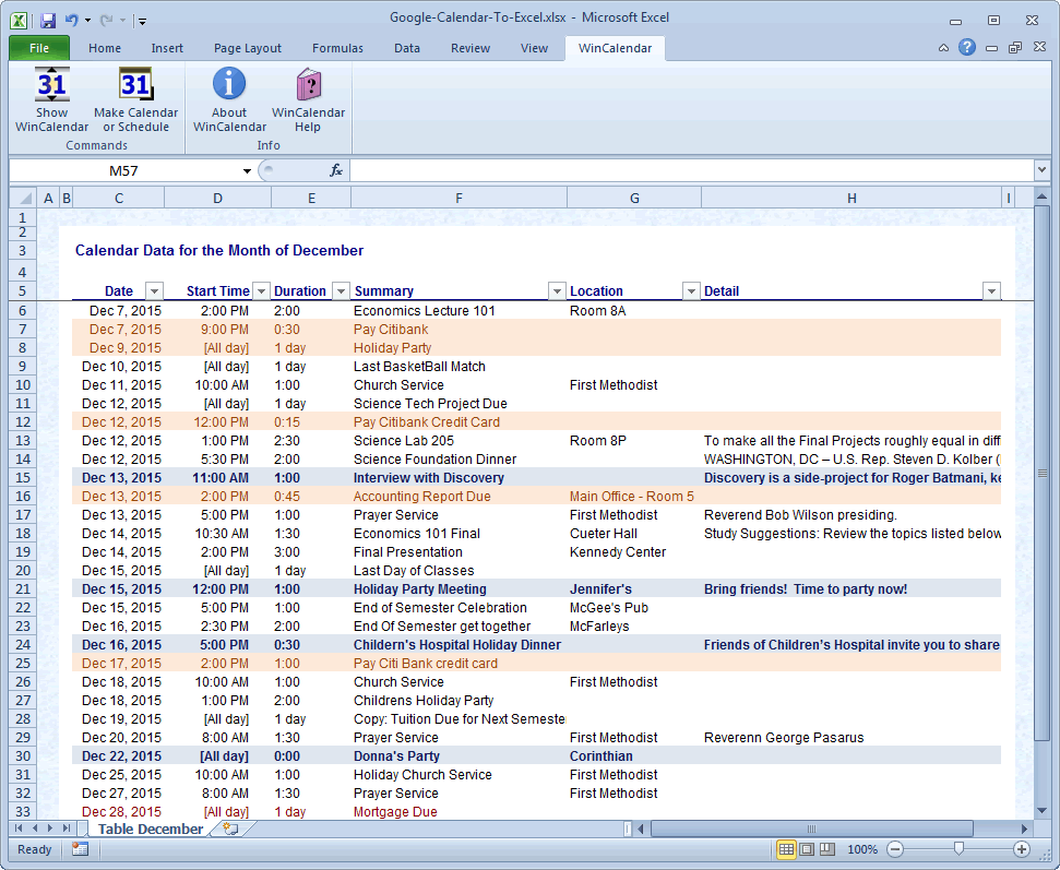 Import google calendar to excel and word for Goodl