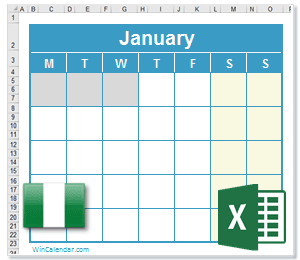 2018 Excel Calendar with NG Holidays
