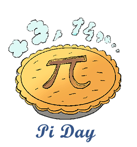 A drawn image of a baked pie with the pi mathematical symbol on the top crust.  3.14 illustrated in steam above it. Pi Day written below the pie.