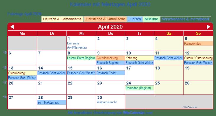 Deutschland Kalender Zum Drucken April 2020