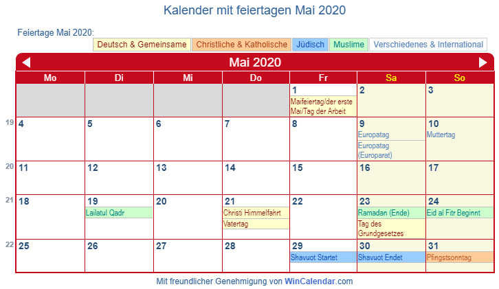 Feiertage Im Mai 2020 Bw