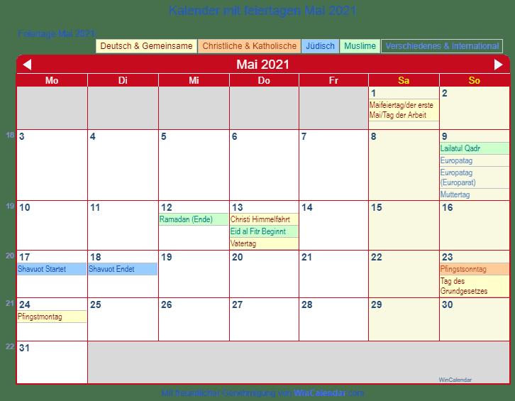 Feiertag 8. Mai 2021