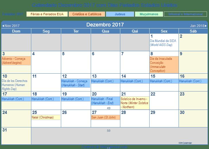 Calendário Dezembro 2017 Para Imprimir Estados Unidos