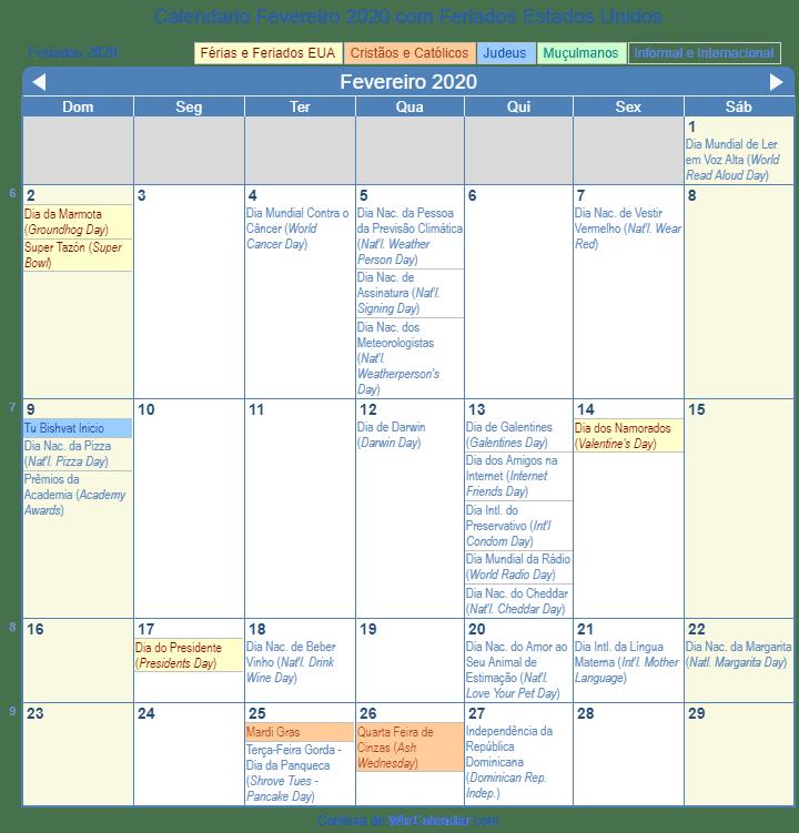 Calendario 2020 Com Feriados Para Impressao.Calendario Fevereiro 2020 Para Imprimir Estados Unidos