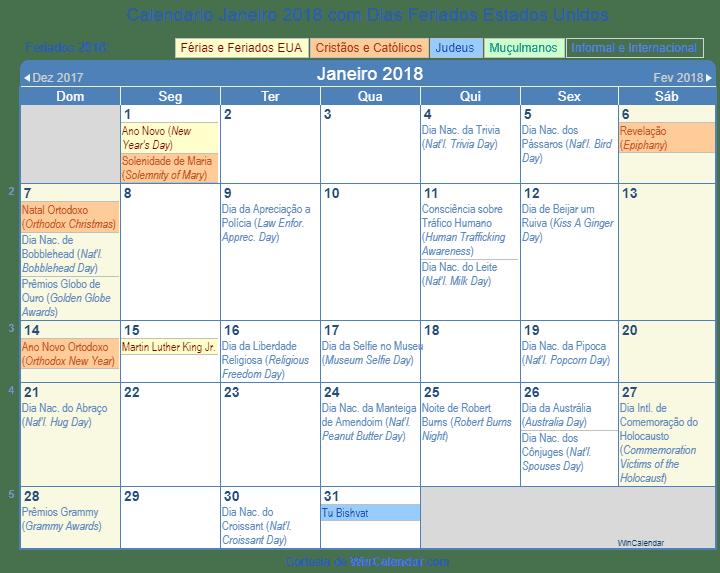 Calendario 2018 Americano