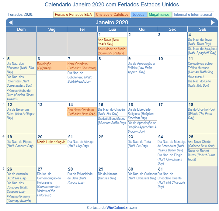 Calendario 2020 Feriados Estados Unidos Calendario 2019