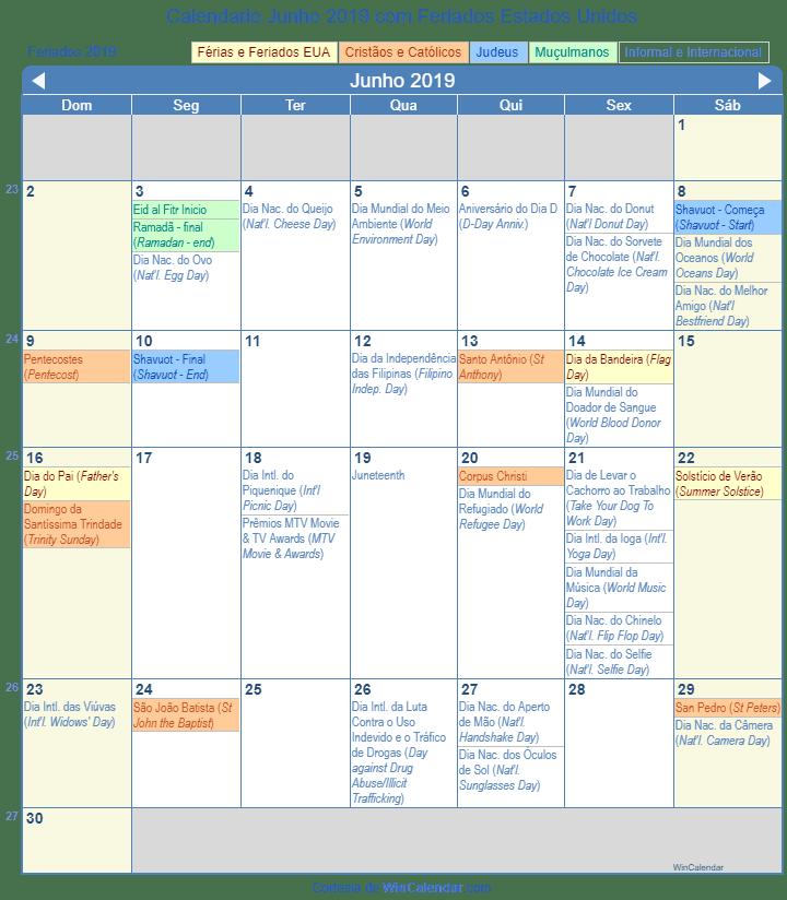 Calendário Junho 2019 para imprimir - Estados Unidos