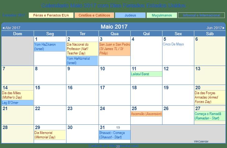 Calendario Maio 2017 Para Imprimir Estados Unidos