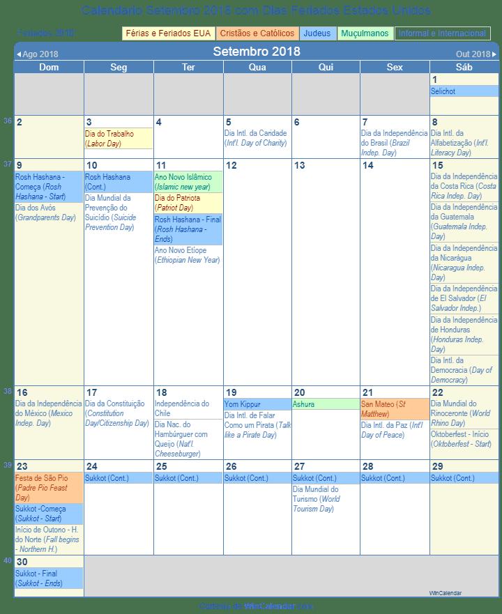 Calend rio setembro 2018 para imprimir estados unidos for Calendario de pared 2018